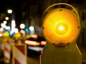 Street barricade light at night